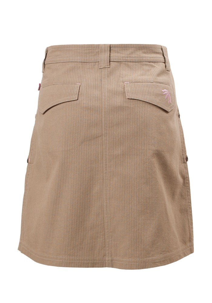 MINC Petite Autumn Fun Girls Embroidered Skirt in Beige Corduroy