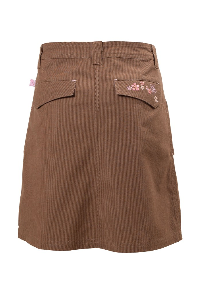MINC Petite Autumn Fun Girls Embroidered Skirt in Brown Corduroy
