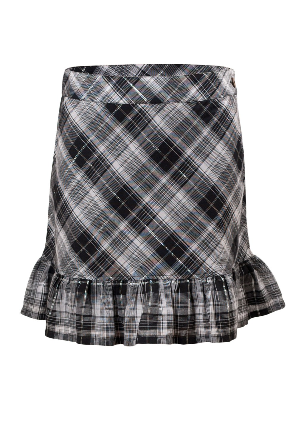 MINC Petite Elegant Girls Ruffle Skirt in Black and White Checks Cotton