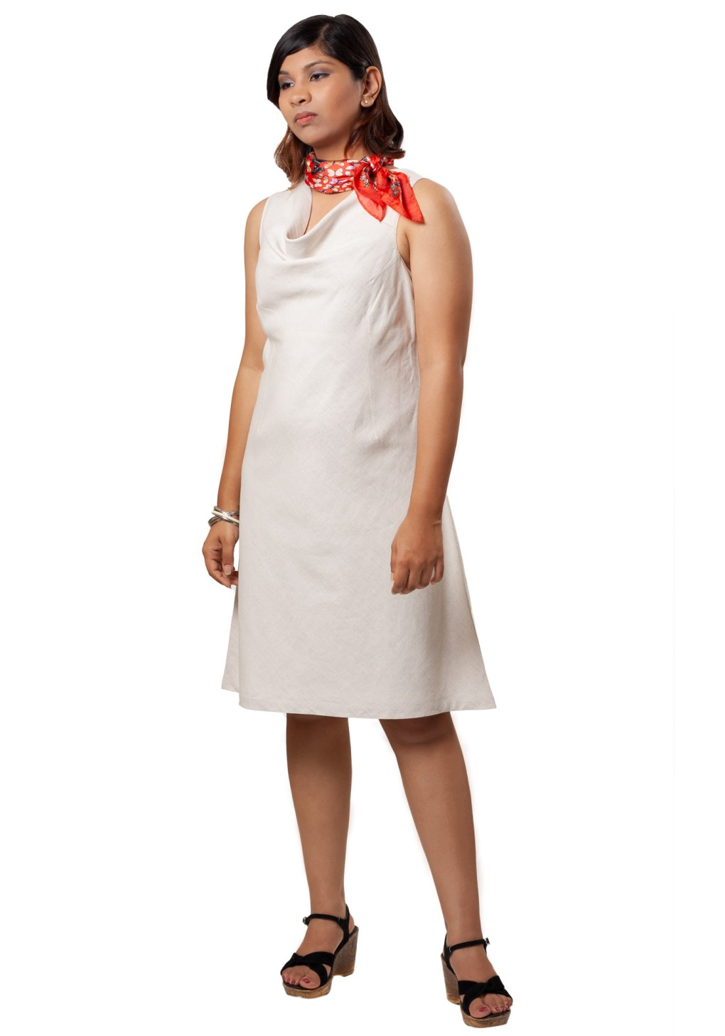 MINC ecofashion Elegant Off White Cowl Neck Dress in Linen