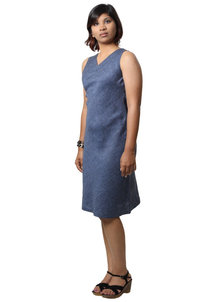 MINC ecofashion Street Wear Linen Dress in Blueberry Blue