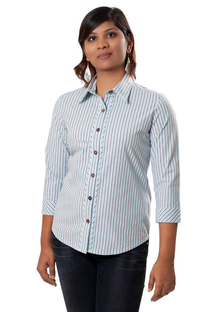 MINC Bias Trim Striped Blue Cotton Shirt