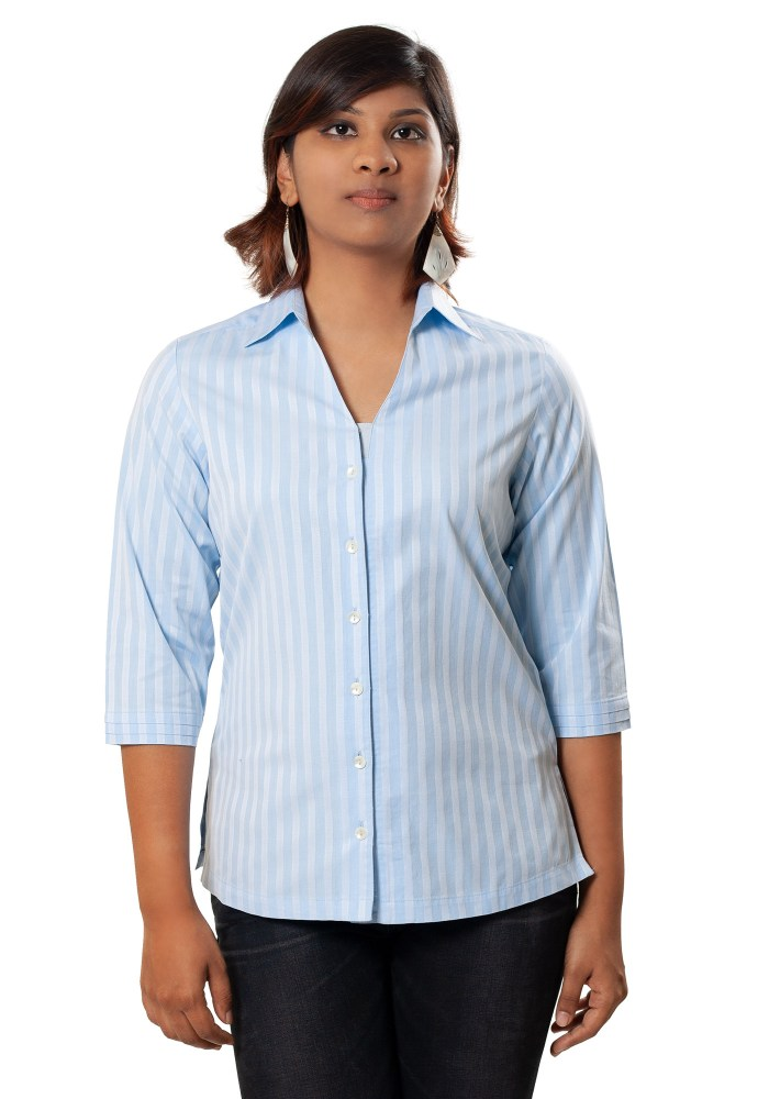 MINC Classic Striped Blue Cotton Shirt