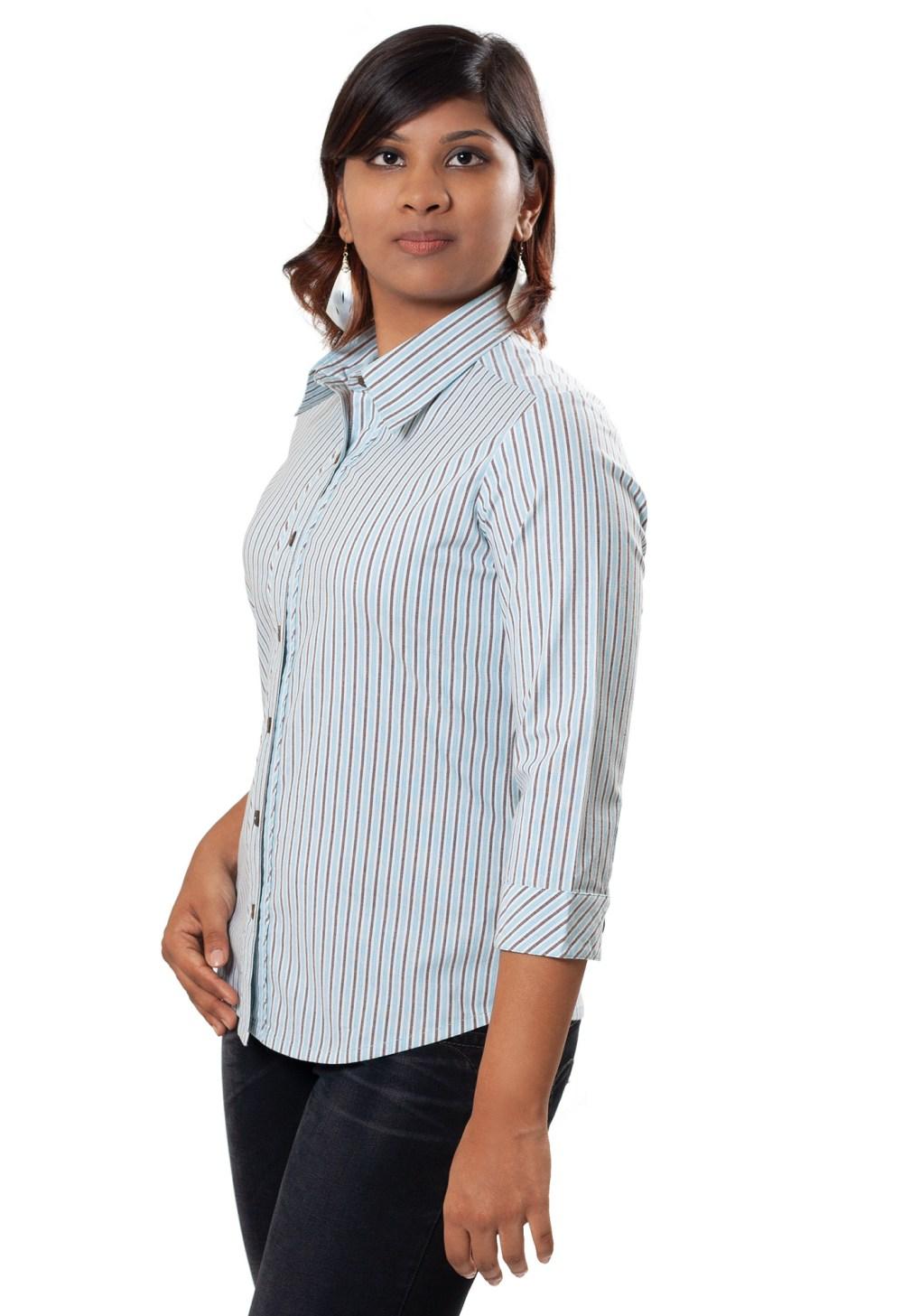 MINC Ecofashion Bias Trim Striped Blue Cotton Shirt