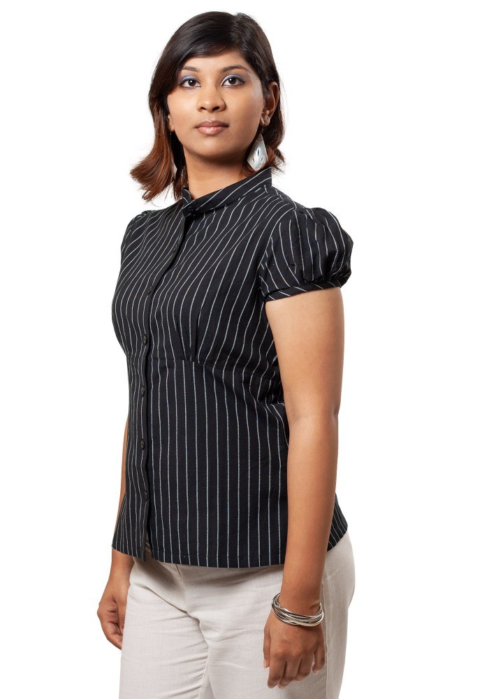 MINC Puff Sleeve Formal Shirt In Pinstripe Black Cotton
