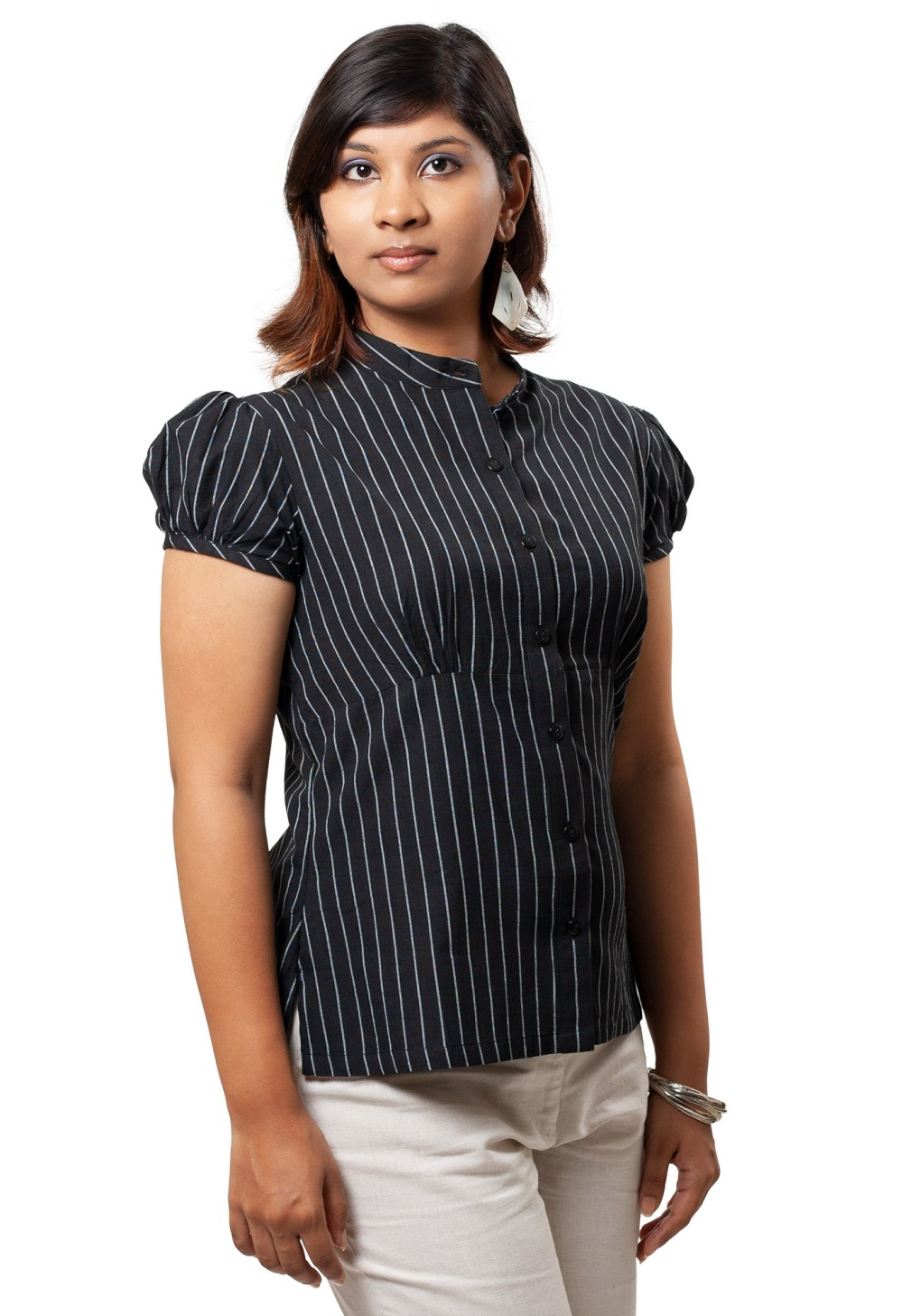 MINC ecofashion Puff Sleeve Shirt In Pinstripe Black Cotton