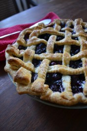 Close-up Blueberry Pie with Lattice Top
