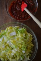 Ready to add the sauce to the cabbage