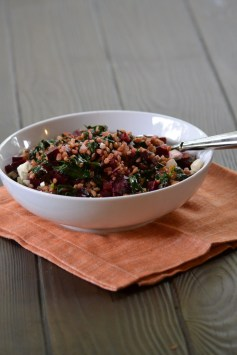 Farro with Winter Greens, Beets, and Feta