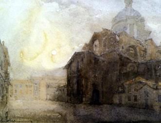 FERRARINI Mantova, piazza Alberti 1994 acquerello 44x55 copia
