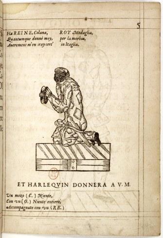 Compositions_de_rhétorique_de_Mr__Don_Arlequin,_1601,_p05_(Harlequin_kneeling)_-_Gallica_2010
