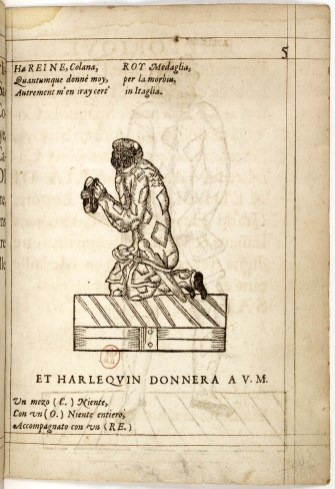 Compositions_de_rhétorique_de_Mr__Don_Arlequin,_1601,_p05_(Harlequin_kneeling)_-_Gallica_2010