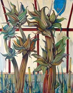 GOZZI Rinardo - Piante nella serra - 1969 olio su tela - 100x80 (200)
