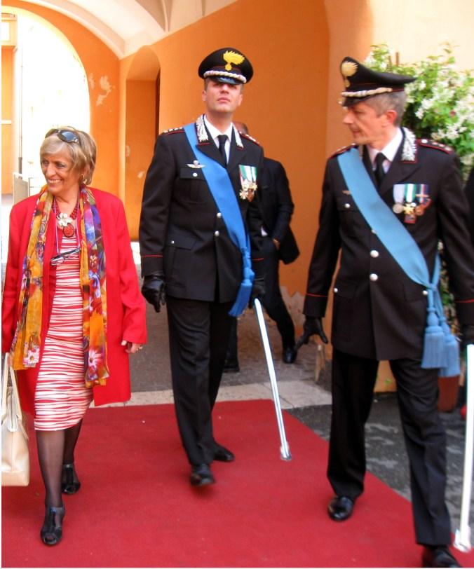 L'arrivo del Prefetto Carla Cincarilli con il Ten. Col. Fabio Federici