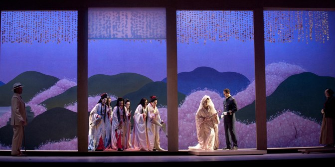 Anthony Michals-Moore as Sharpless, Kristine Opolais as Cio-Cio-San, James Valenti as B.F. Pinkerton and Robin Leggate as Goro in the Royal Opera revival of Madama Butterfly (2003) by Giacomo Puccini (1858-1924) directed by Moshe Leiser and Patrice Caurier with set designs by Christian Fenouillat, costumes by Agostino Cavalca and lighting by Christophe Forey, performed at the Royal Opera House, Covent Garden on 20 June 2011. ARPDATA ; MADAMA BUTTERFLY ; Music by Puccini ; Anthony Michals-Moore (as Sharpless), Kristine Opolais (as Cio-Cio-San), James Valenti (as B.F. Pinkerton) and Robin Leggate (as Goro) ; The Royal Opera ; At the Royal Opera House, London, UK ; 20 June 2011 ; Credit: Mike Hoban / Royal Opera House / ArenaPAL