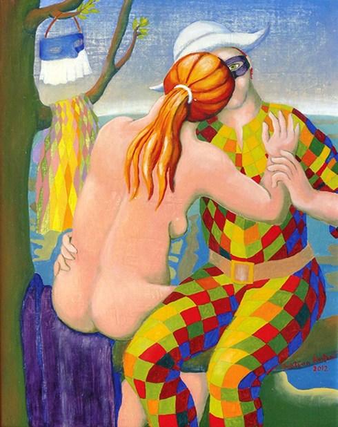 CRESTANI CRISTINA - L'amante di Arlecchino, 2012, olio su tavola intelata, cm 50x40