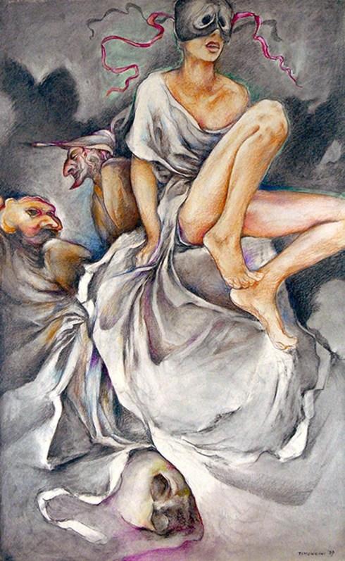 TIMONCINI LUIGI - Maschere irrequiete - Pulcinella, 1989, matite dure su carta, 95x60
