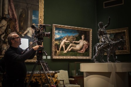 David Bickerstaff filming the Rothchild Bronzes -Æ Nathan Heeb - Fitzwilliam Museum