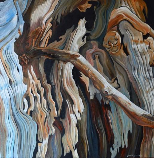 Il fuoriuscito olio su tela 100 x 100 2017