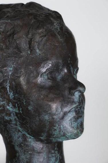 Enzo Nenci (1903-1972) Testina, 1949, bronzo (particolare) foto degli studenti del Liceo Artisdtico G.Romano di Mantova