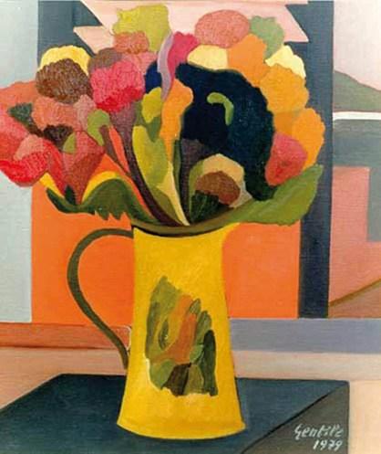Gentile, 1979, composizione con fiori, olio su tela, 50x40