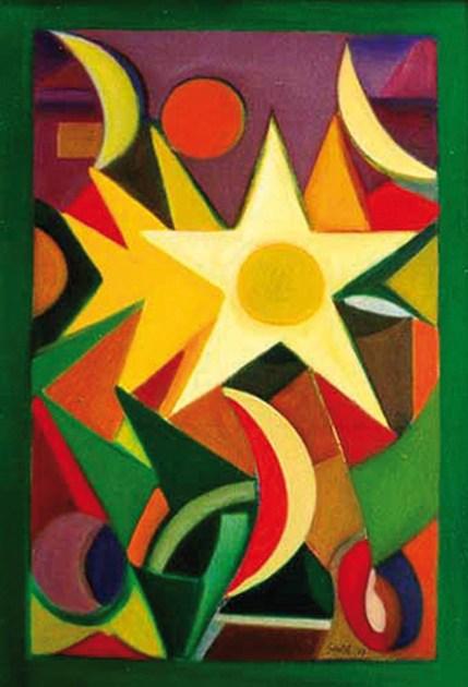 Gentile, 1997, Luna, sole, stelle e affini, olio su cartone telato, 50x35