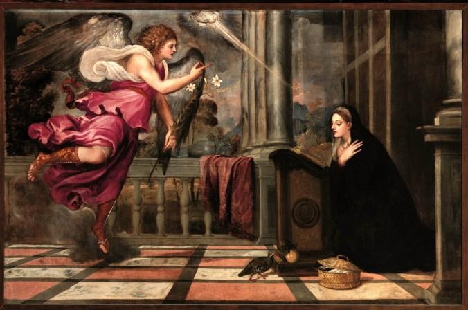 Tiziano, Annunciazione, c 1535, olio su tela, 166x266 cm, Venezia, Scuola Grande Arciconfraternita di San Rocco.jpg