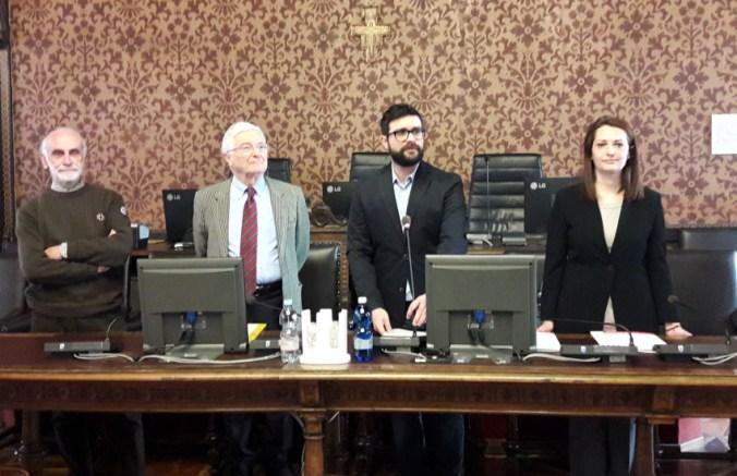 Da sx Sutti, Corbellani, Murari, Giulia Moraschi (dirigente settore ambiente comune di Mantova)