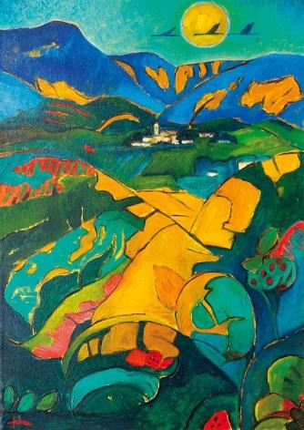 FABRI OTELLO - Paesaggio, s.d. (1993ca), olio su tela, cm 70x50