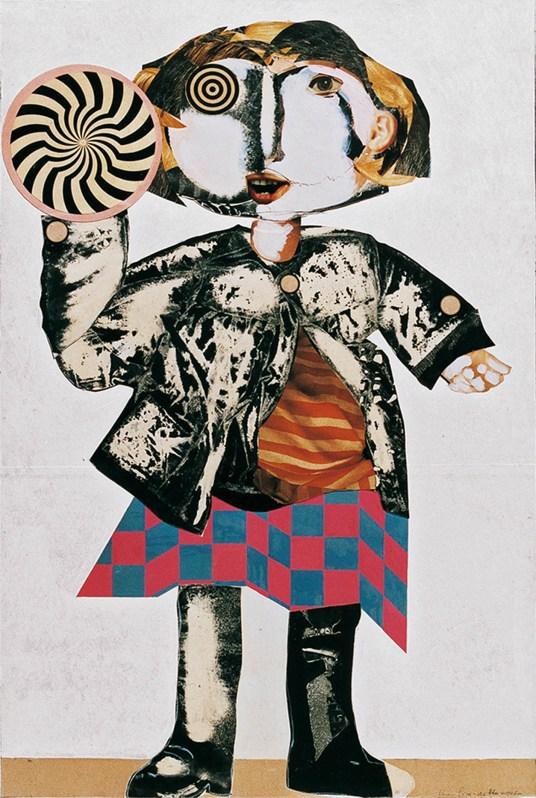 Silvano Girardello - Bimba con girandola, 1967, collage su tavola, cm 120x80 (800)