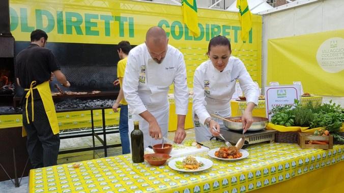 CONDIRETTI preparazione di piatti a base di carne al Villaggio Coldiretti di Torino