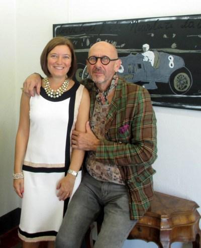 Walter Davanzo con Arianna Sartori, Casa Museo Sartori, Artisti per Nuvolari 2014