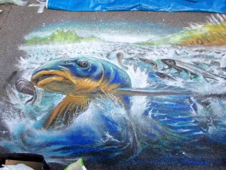 particolare La pesca miracolosa Grazie di Curtatone Fiera dei Madonnari secondo premio 2015 Victor Boni