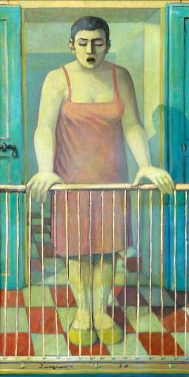 1975 ZANGRANDI - Nerea al poggiolo, 1975, olio su tela, cm 120 x 60