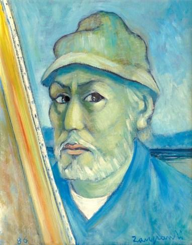 1986 ZANGRANDI - Autoritratto, 1986, olio su tavola, cm 50x40