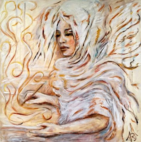 On the wings of fantasy - olio su tela - 70x70 - 2018