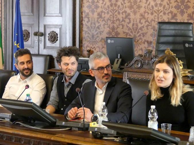 CONFERENZA STAMPA COMUNE MANTOVA CON PALAZZI, PUCCINI E ATTORI DE IL PROCESSO