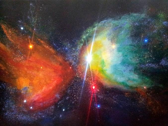 Nebulosa Farfalla, 2019, tecnica mista su tela con Led, cm 100x150