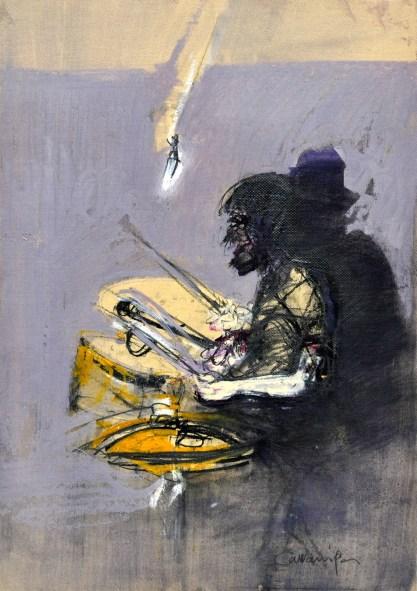 Jazz man, 1995, tecnica mista su carta intelata, cm 50x35.jpg