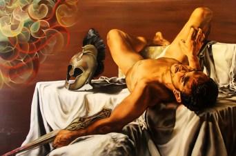 4) Pamela Pagano - Morte di Patroclo, 2019, olio su tela di cotone a trama fina, cm 120x80