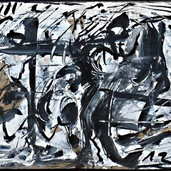 Emilio Vedova senza titolo pittura su cartone 40x50