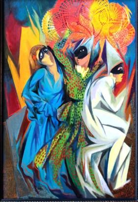 Ritmi di danza di maschere - encausto su tela - 2013 - cm. 35x50