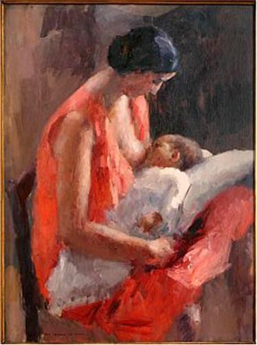 Ritratto della moglie che allatta la figlia, 1929, olio su compensato, 50 x 70 cm