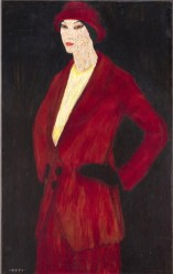 donna con cappello rosso