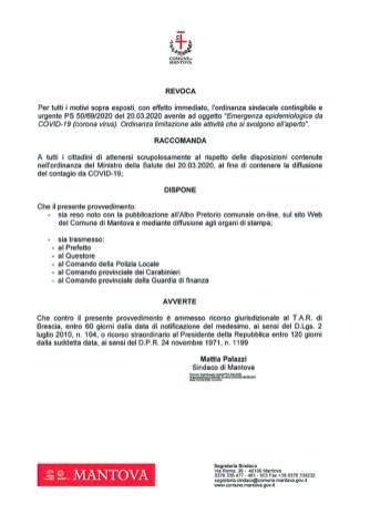 revoca ordinanza comune mantova.21 marzo