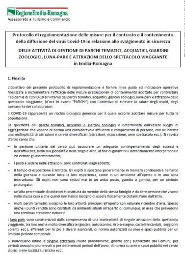 PROTOCOLLO DI GESTIONE PARCHI TEMATICI