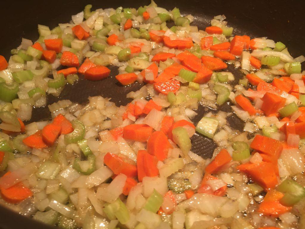 sautéed onions, carrots and celery