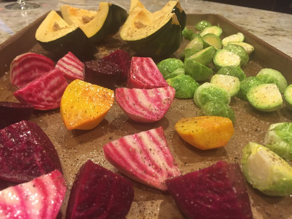 Roasted squash beets brussels sprouts