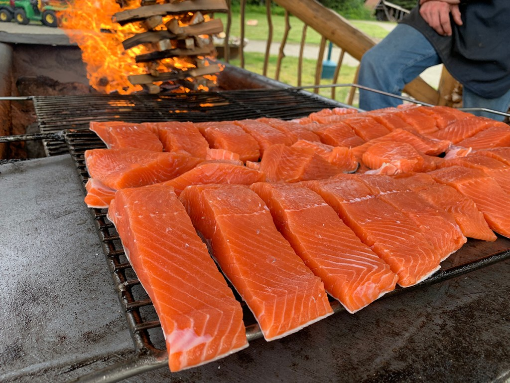 Several pieces of wild salmon on an outdoor grill.