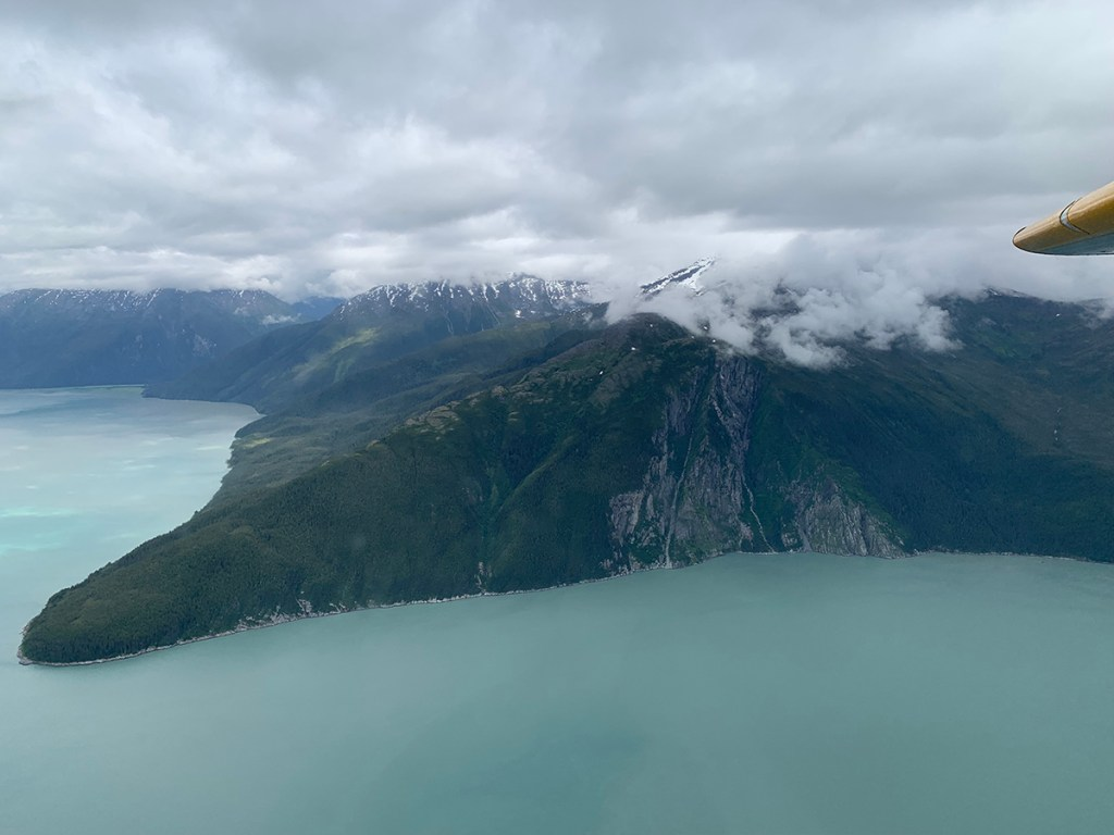 Aerial view of mountains and water in Juneau, Alaska